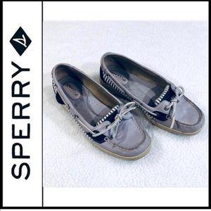 SPERRY TOP-SIDER Blue Striped Seersucker Boat Shoe